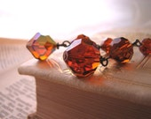 Madeira Topaz drop earrings with vintage Swarovski crystals