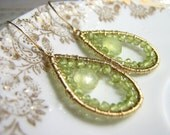 Peridot and Prehnite gold filled wire wrapped gemstone earrings