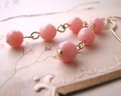 Honeysuckle Pink opal pastel gold filled earrings