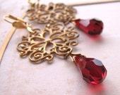 Filigree and garnet crystal drop earrings Victorian christmas