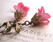 Red flower earrings with filigree Nature Inspired shabby chic