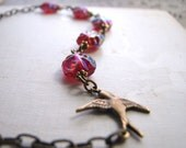 RED necklace with vintage ruby rainbow glass beads july birthstone