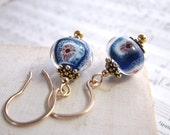 lampwork glass earrings blue anemone gold filled