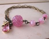 Pink Sugar shabby chic bracelet with vintage lampwork glass