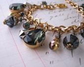 Black Crystal Filigree Charm bracelet