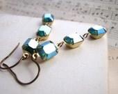 Christmas Earrings vintage Swarovski Emerald AB rhinestones