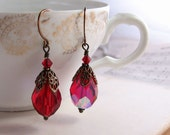 victorian style earrings with vintage ruby glass beads july birthday