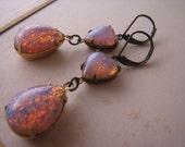 Here's my Heart pink opal  earrings vintage art glass