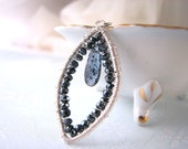 kyanite necklace black blue sterling silver wire wrapped gemstones