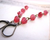 Black Cherry earrings with ruby red Czech glass flowers