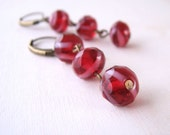 Cherry stripe earrings with red and pink glass