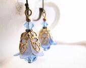 Shabby Sapphire  blue  filigree shabby flower earrings