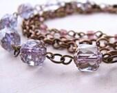 Lavender multi strand bracelet vintage pastel glass beads