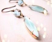 Blue Skies turquoise givre art glass drop earrings
