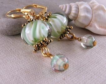 Shabby chic lampwork earrings green white