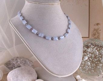 Blue lace agate necklace bracelet earrings set sterling silver