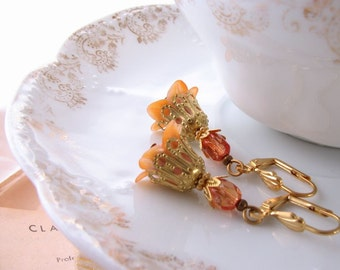 Peach shabby  flower earrings with filigree and lilies