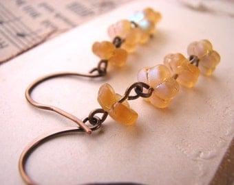 Golden Topaz Czech glass flower earrings