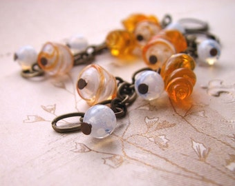 TANGERINE Orange white earrings vintage lampwork glass beads