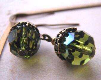 ACORN drop earrings vintage green crystals