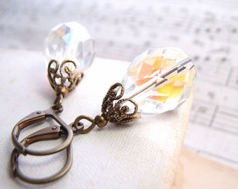 Shabby chic AB crystal filigree earrings