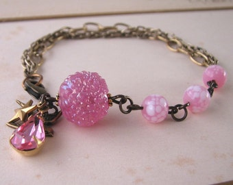 Pink Sugar shabby chic bracelet with vintage lampwork glass