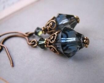 Gray Blue Filigree Shabby earrings