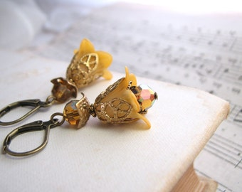 Golden Topaz Shabby Flower drop earrings crystal filigree