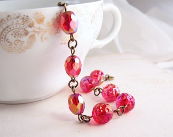 Cherry bracelet with vintage bright red ruby AB glass