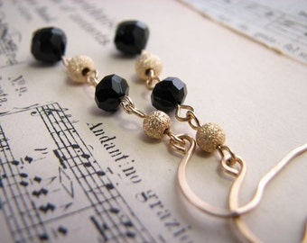 Stardust gold black swarovski crystal earrings