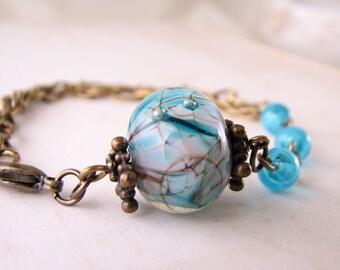 Summer jewelry Aqua blue lilac lampwork glass bracelet