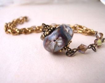 Nature Inspired Earth Flower lampwork glass bracelet gray brown