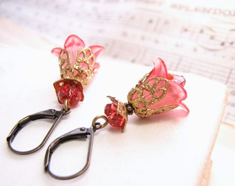 Bridesmaids Jewelry Blush Pink  filigree shabby flower earrings