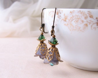Gray Green Shabby Flower earrings crystal filigree