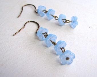 Baby blue opal shabby flower earrings