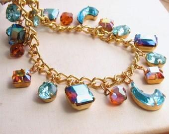 Statement Necklace Blue Sky topaz AB and aquamarine vintage rhinestones