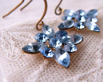 Powder Blue Sapphire star snowflake vintage rhinestone earrings pastel