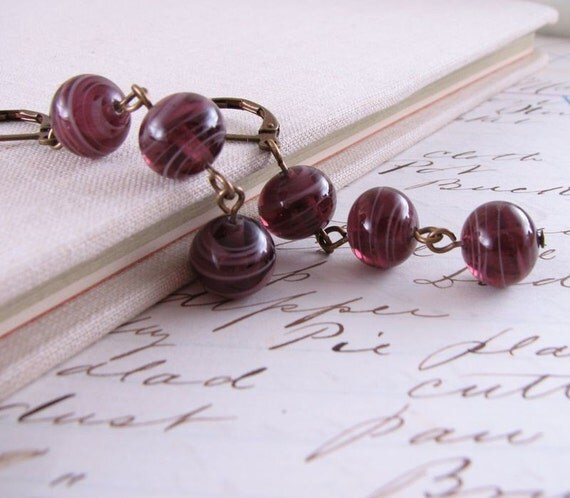 GRAPE  earrings with vintage purple lampwork glass