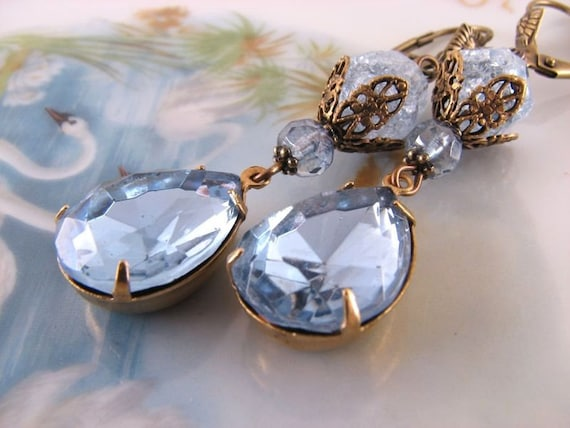 BABY BLUE crackle glass and  rhinestone earrings filigree shabby