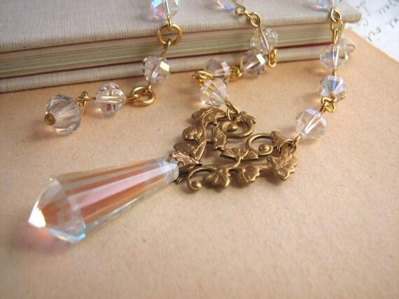 Vintage chandelier pendant and swarovski crystal necklace