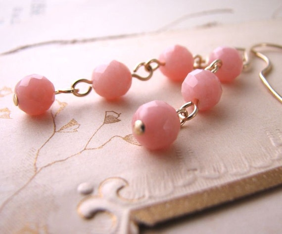 Honeysuckle Pink opal pastel gold filled earrings