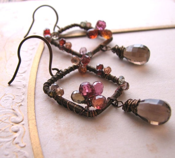 Autumn sapphire gemstone wire wrapped earrings smoky quartz