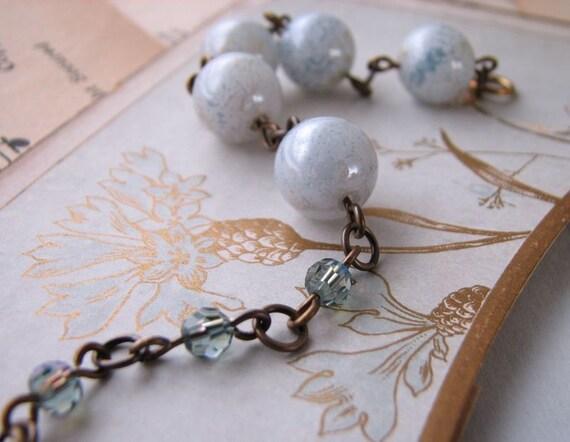 QUARRY blue bracelet  vintage Swarovski Robin's Egg beads and crystals