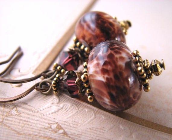 Russet leopard lampwork glass earrings