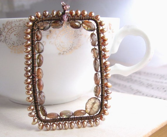 Andalusite and Pearl wire wrapped rectangle pendant necklace