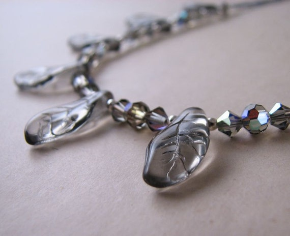 Winter necklace with vintage glass gray leaves starlight crystals
