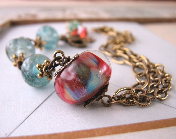Holiday jewelry lampwork glass bracelet red green aqua
