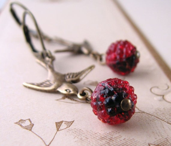 Berry drop earrings with vintage red glass beads