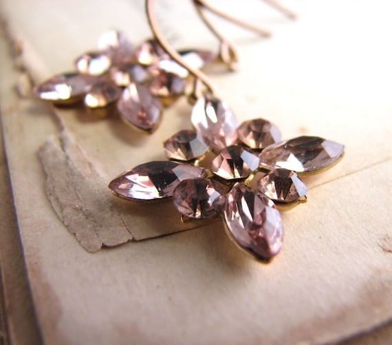 Shabby lilac drop earrings snowflake vintage rhinestone