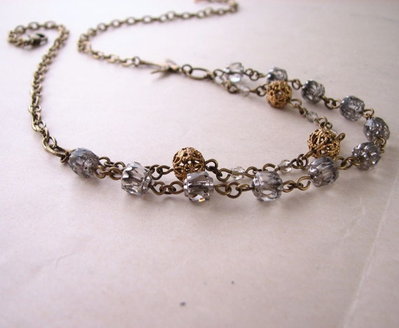 Shabby metallic necklace with vintage silver cathedral glass beads